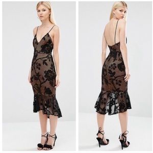 New ASOS Black Lace Pephem Midi Dress